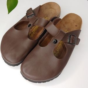 Papillio by Birkenstock Brown Leather Slip Ons
